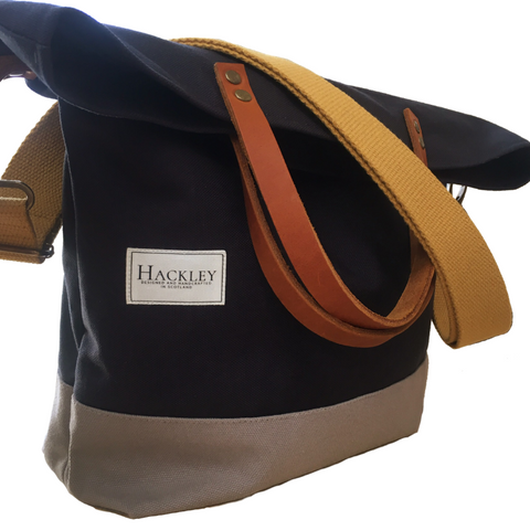 Old Style Bucket Tote - Navy & Grey - No Pockets