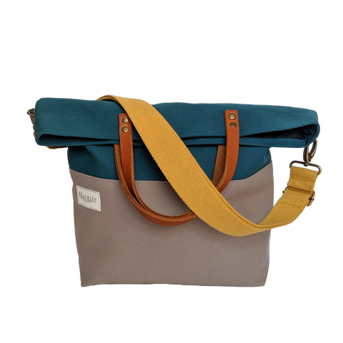 Old Style Bucket Tote - Teal & Grey - No Pockets