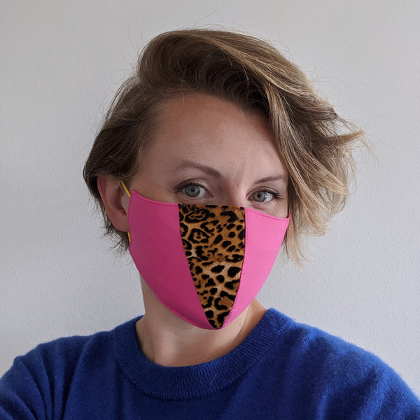 LIMITED EDITION Leopard Print Accent Cotton Face Mask - Pink