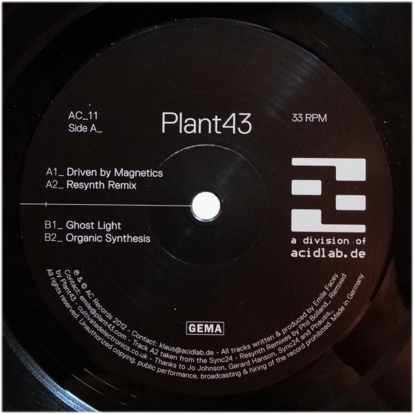Plant43 - Driven By Magnetics - AC Records - AC_11