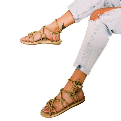 Adisputent Boho Women Sandals Lace Up 2019