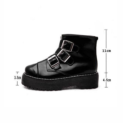 Female Fashion Shoes Patent Zip Motorcycle Boot Ladies Mid Thick Heels