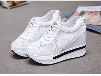 New Female Lace Up Casual Height Increase Shoes Ladies Fashion