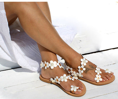 Flat Sandals Beach Shoes 2019 Flowers Flip Femme