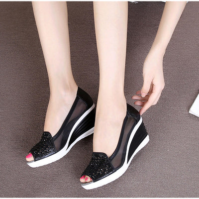High Heels Female Fashion Breathable Mesh Shoes Ladies