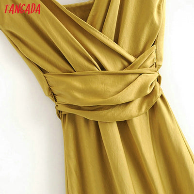 Yellow Party Dress Sleeveless Backless