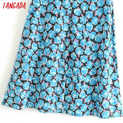 Tangada women blue flower print skirt high waist side