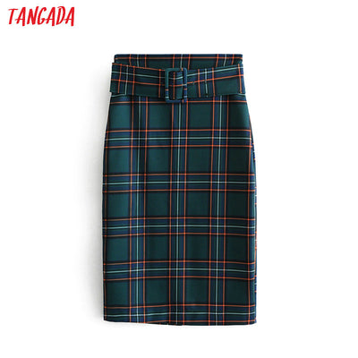 fashion women green plaid skirt vintage elegant ladies