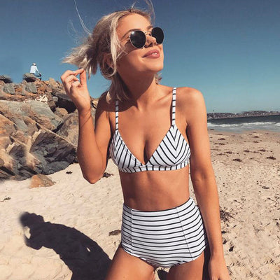 High Waist Swimsuit 2019 Black White Striped