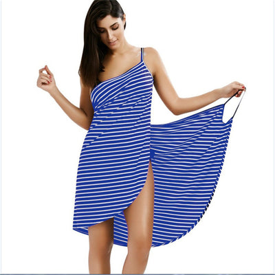 Stripe Sling Backless Swimwear Scarf Beach Cover Up