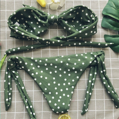 Hot Ladies Bikini Set Tops Cut Out Padded Bow Dot