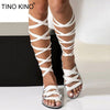 Open Toe Knee High Shoes Plus Size Ladies Fashion