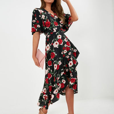 Chiffon Dress Women Floral V Neck