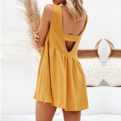 New Arrival 2019 Dress Solid Hollow Out Beach Dress Sleeveless O Neck Casual Dress