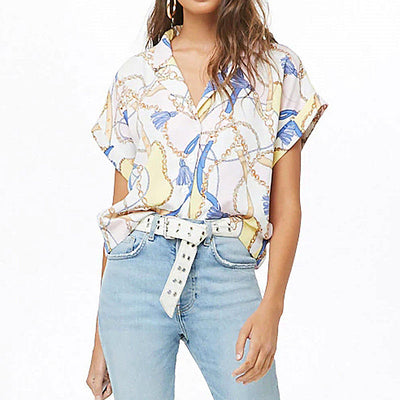 Shirt Women Summer Chain Print Batwing