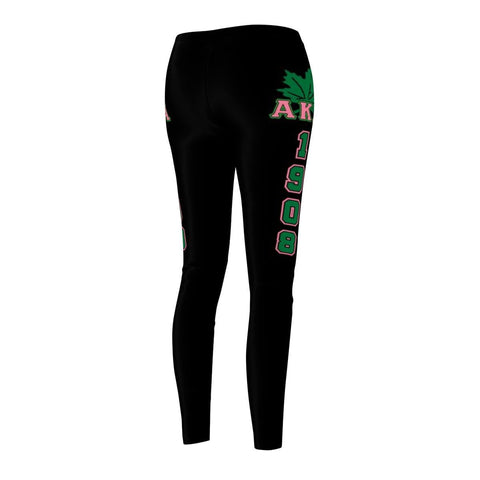 Image of Alpha Kappa Alpha FOUNDING YEAR Women's Cut & Sew Casual Leggings - Unique Greek Store