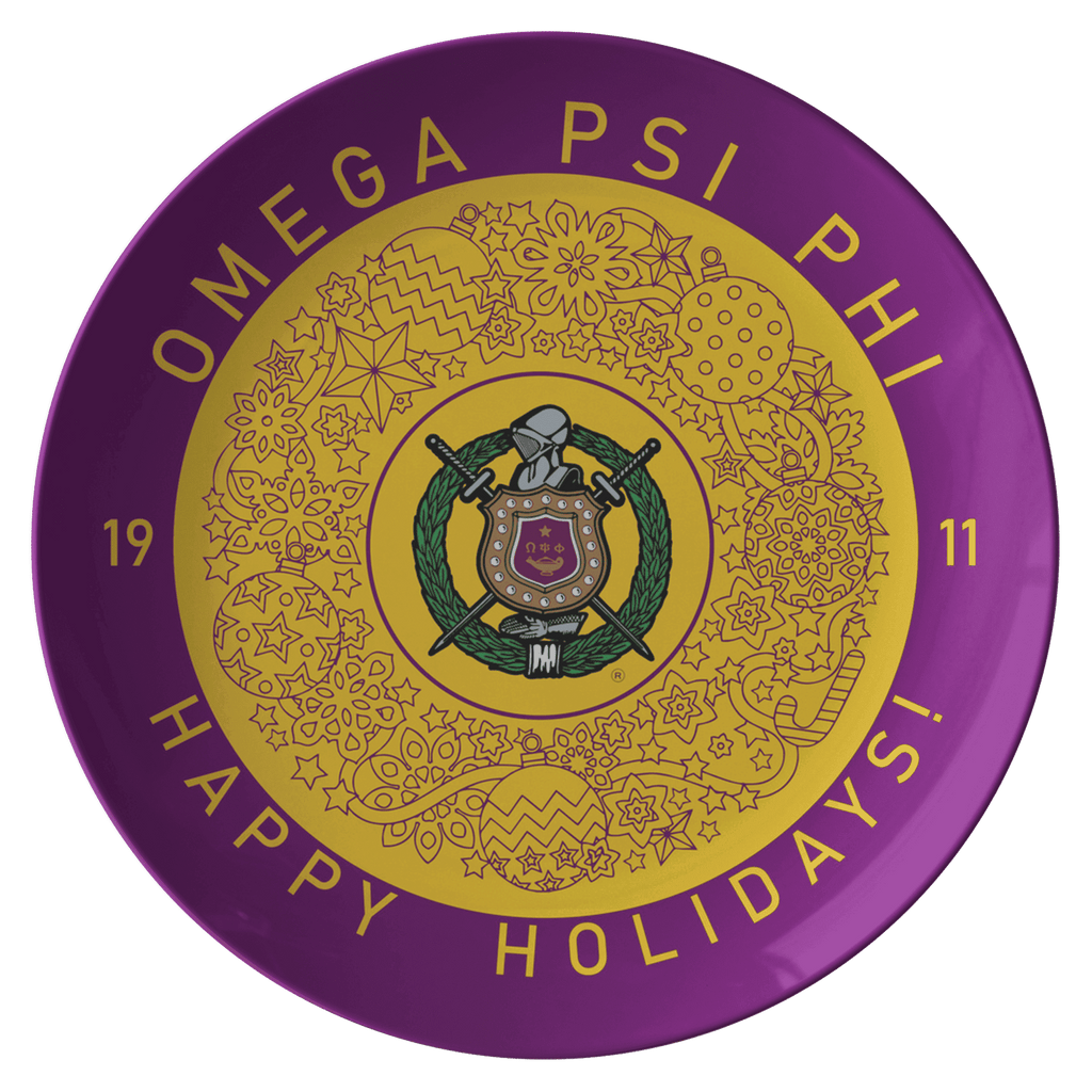 Omega Psi Phi Christmas Plate - Unique Greek Store