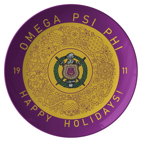 Image of Omega Psi Phi Christmas Plate - Unique Greek Store