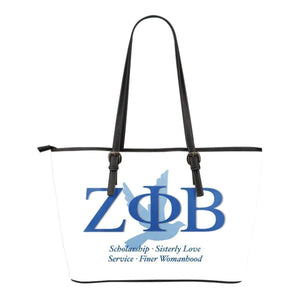 Zeta Phi Beta Small Leather Tote - Unique Greek Store