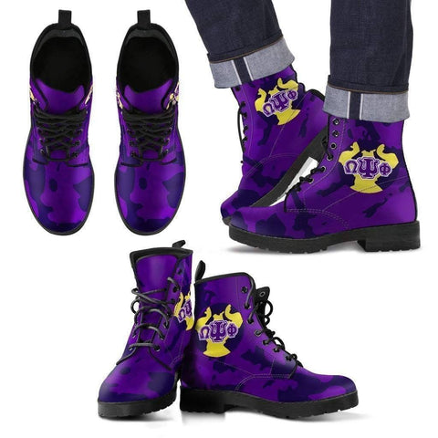 Omega Psi Phi Leather Boots - Unique Greek Store