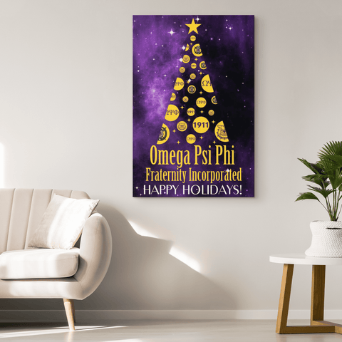Image of Omega Psi Phi Christmas Wall Canvas - Unique Greek Store