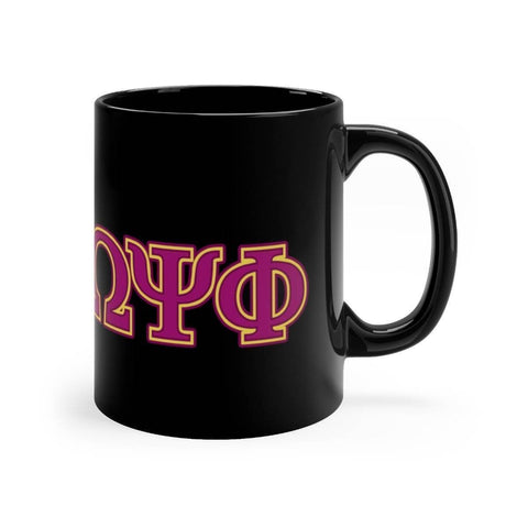 Image of Omega Psi Phi Black Mugs - Unique Greek Store