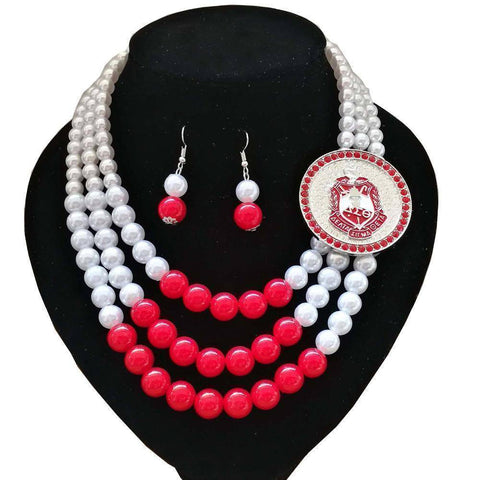 Image of Delta Sigma Theta Necklace Jewelry Set II - Unique Greek Store