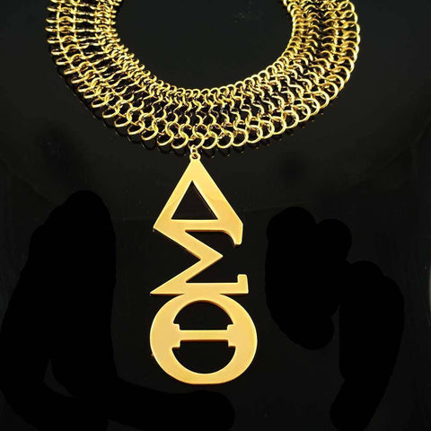 Delta Sigma Theta Stainless Steel Gold Necklace - Unique Greek Store