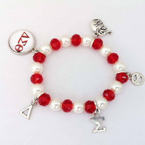 Delta Sigma Theta Red Crystal Elastic Bracelet - Unique Greek Store