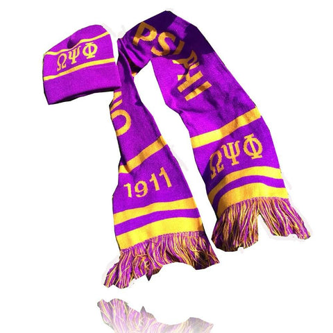 Image of Omega Psi Phi Graduation Kente Stole Scarf Hat