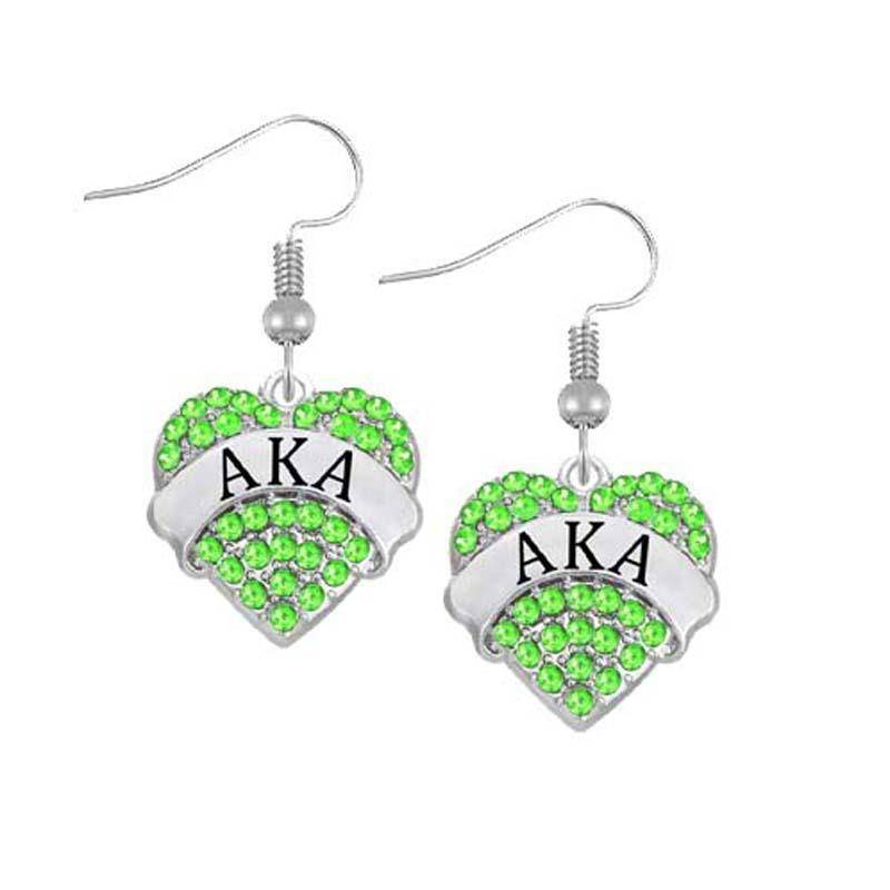 Alpha Kappa Alpha Heart Shaped Earring - Unique Greek Store