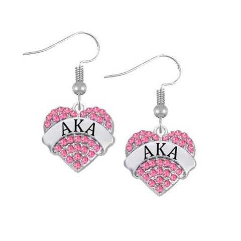 Image of Alpha Kappa Alpha Heart Shaped Earring - Unique Greek Store