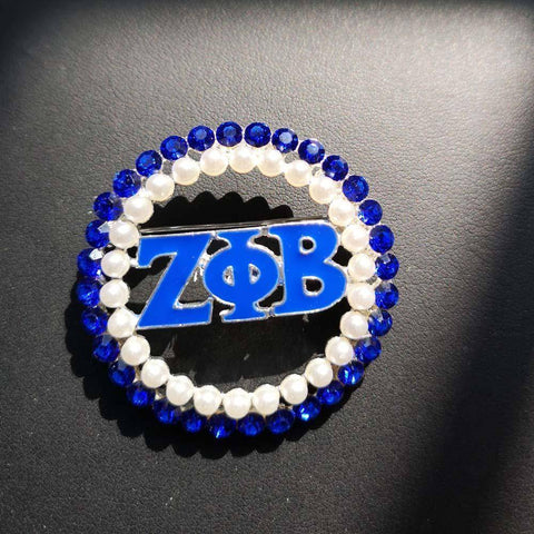 Zeta Phi Beta Blue and White Lapel Pin