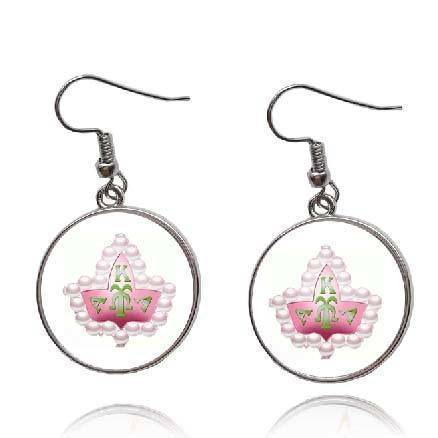 Alpha Kappa Alpha Pink AKA Design Earrings - Unique Greek Store