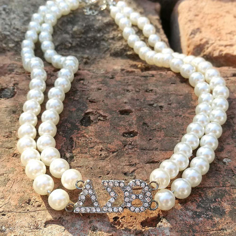 Image of Delta Sigma Theta Double Line Pearl Necklace
