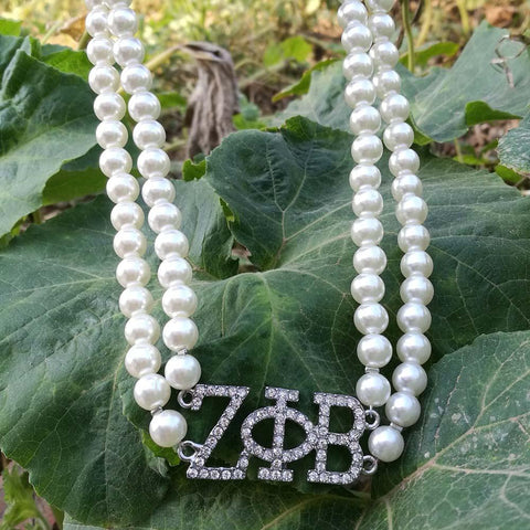 Image of Zeta Phi Beta Double Line Pearl Necklace