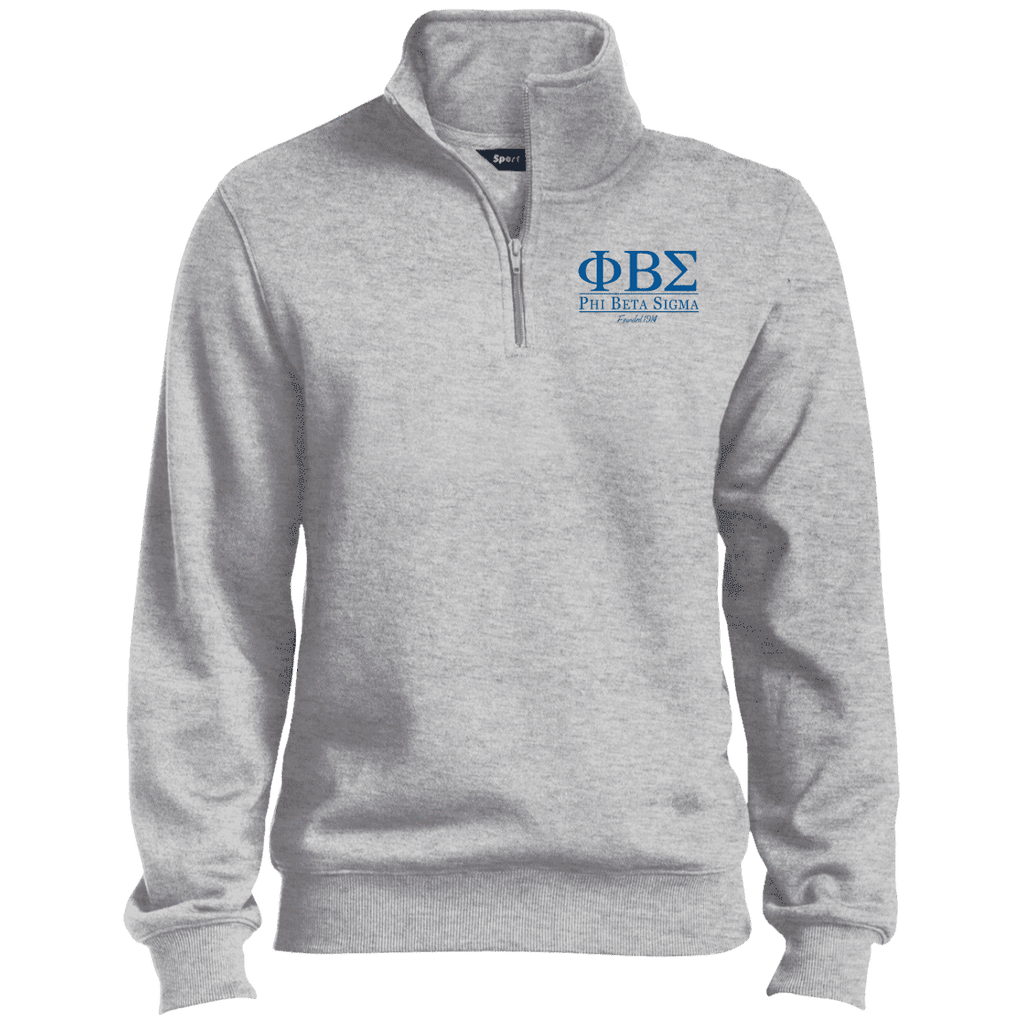 Phi Beta Sigma Quarter-Zip Embroidered Sweatshirt - Unique Greek Store