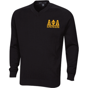 Alpha Phi Alpha Embroidered V-Neck Sweater - Unique Greek Store