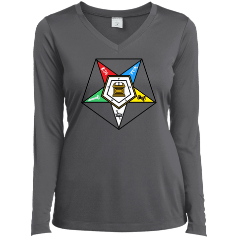 Image of Order Of The Eastern Star Long Sleeve Performance Vneck Tee - Unique Greek Store