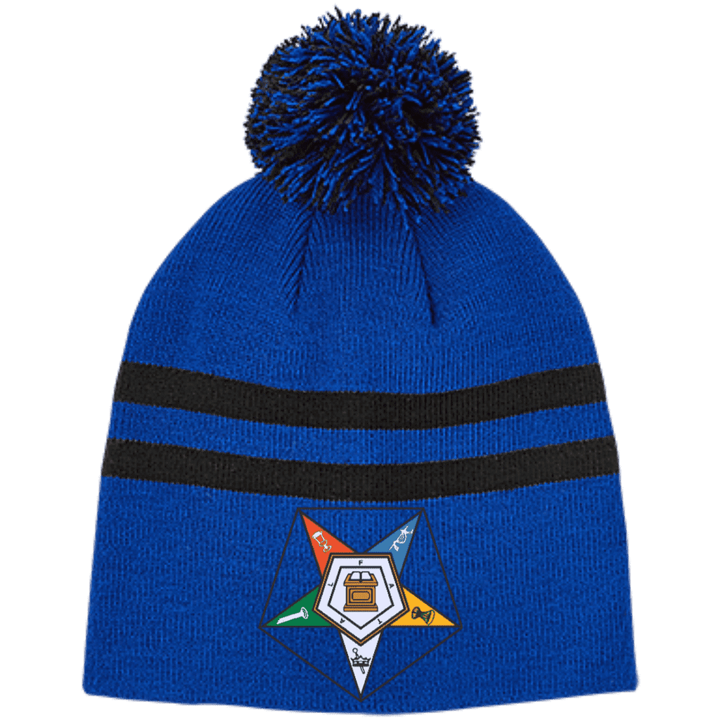 Order Of The Eastern Star Striped Pom Beanie - Unique Greek Store