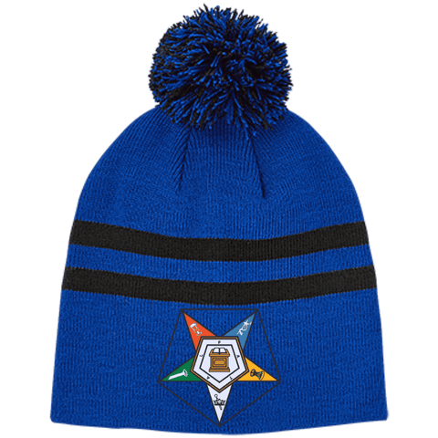 Image of Order Of The Eastern Star Striped Pom Beanie - Unique Greek Store