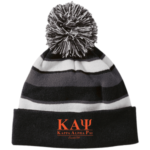 Kappa Alpha Psi Striped Beanie with Pom - Unique Greek Store