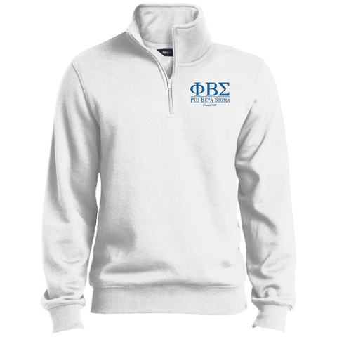 Image of Phi Beta Sigma Quarter-Zip Embroidered Sweatshirt - Unique Greek Store