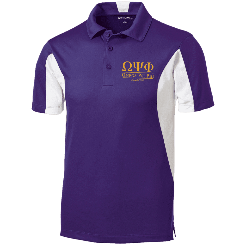 Omega Psi Phi Tall Colorblock Performance Polo - Unique Greek Store