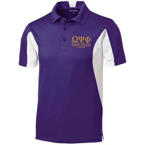 Image of Omega Psi Phi Tall Colorblock Performance Polo - Unique Greek Store
