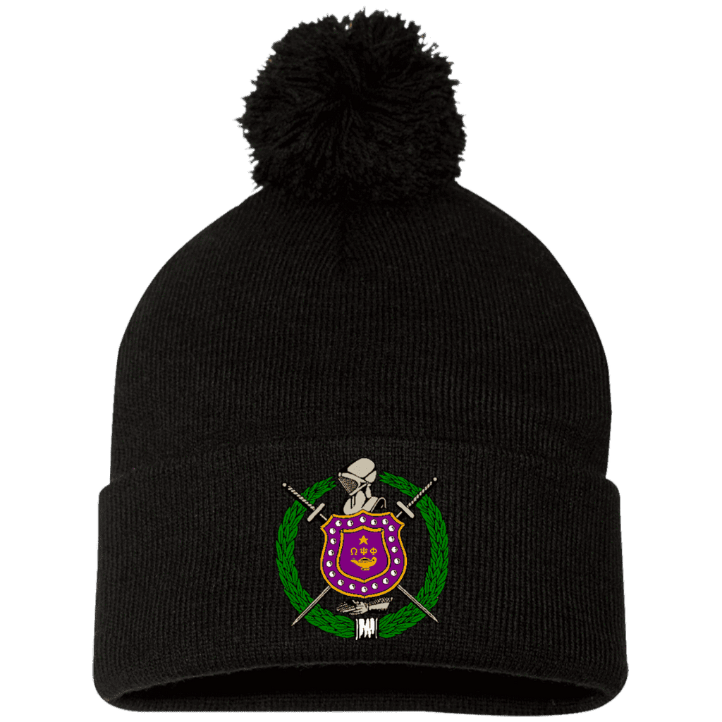 Omega Psi Phi Pom Pom Knit Cap - Unique Greek Store