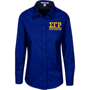 Sigma Gamma Rho Ladies Customized Long Sleeve Blouse - Unique Greek Store