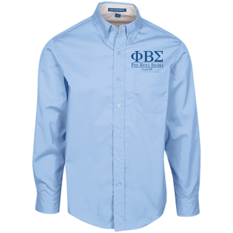 Image of Phi Beta Sigma Long Sleeve Dress Shirt - Unique Greek Store