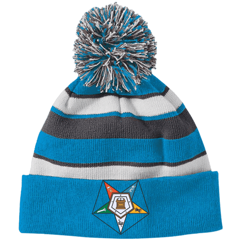Order Of The Eastern Star Striped Beanie with Pom - Unique Greek Store