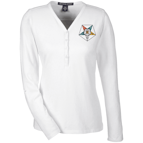 Order Of The Eastern Star Henley Knit Top - Unique Greek Store